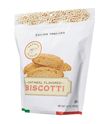 La Collina Toscana Cucina Oatmeal Biscotti Cookies Kosher Resealable Bag 4.7 ounces (Toscana Biscotti)