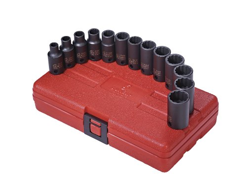 Semi Deep Socket - Sunex 3338 3/8-Inch Drive 12 Point Metric Semi-Deep Impact Socket Set, 13-Piece