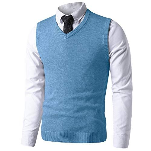 LTIFONE Mens Slim Fit V Neck Sweater Vest Basic Plain Short Sleeve Sweater Pullover Sleeveless Sweaters with Ribbing Edge(Light Blue,XL)