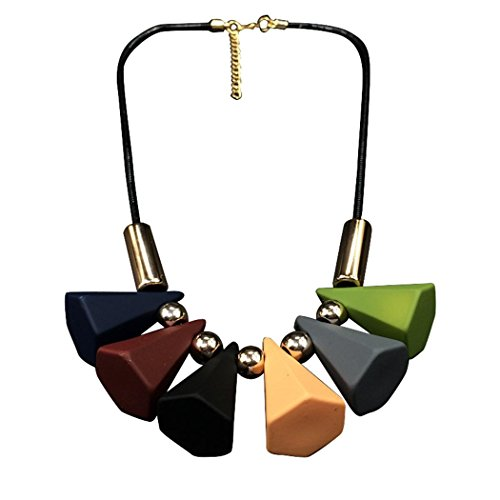 [Veenajo Punk Style Black Chain Necklace Colorful Conical Shaped Pendant Necklace for Women] (Funky Punk Bones Adult Costumes)