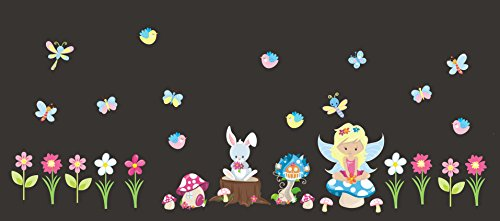(Nursery Wall Stickers - Baby Girls Room Decals - Forest Animal Decals - Faries - Bunny - Mushrooms - Butterflies - Woodland Animal Decals - Cute Animal Stickers - Baby)