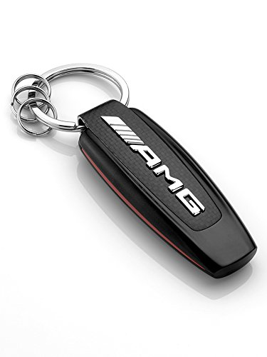 original Mercedes-Benz, Key ring, model series AMG stainless steel / carbon fibre, black / silver-coloured / red (Mercedes Benz Amg)