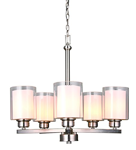 Steel 4 Light Chandelier - Design House 567198 Oslo 5 Light Chandelier, Satin Nickel