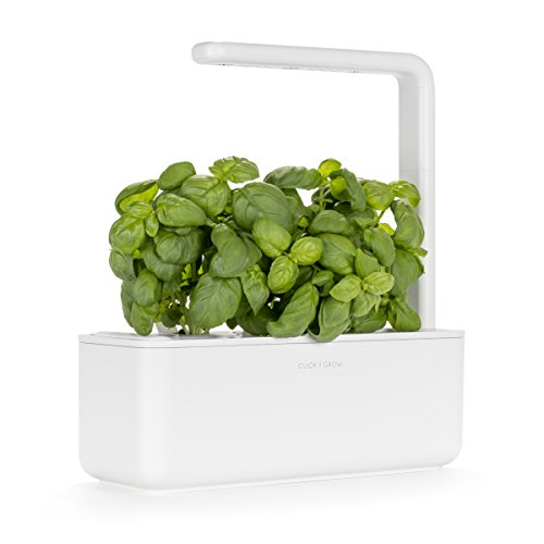 $99.95 Click & Grow Smart Garden 3 Indoor Gardening Kit (Includes Basil Capsules), White 2019