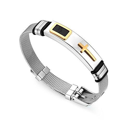 Cupimatch Men Stainless Steel Cross Bracelet Bangle, The Honor of Knight Mesh Wristband Chain 21CM ()