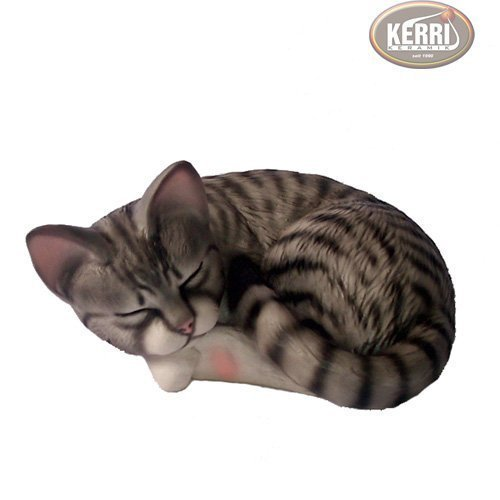 Katze schlafende Katze Katzenfigur Keramikkatze Dekokatze