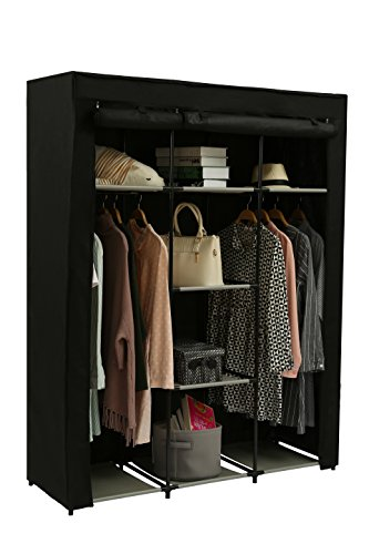 JEROAL Closet Wardrobe Portable Clothes Storage Organizer with Metal Shelves and Dustproof Non-Woven Fabric Cover,51.18X17.72X65.35 in(WxDxH) (Black)