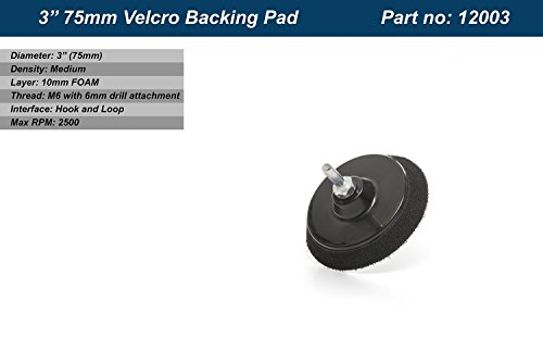 GP12003 Hook and Loop Rotary Backing Pad M6 with Drill Attachment//Diameter 3 inch