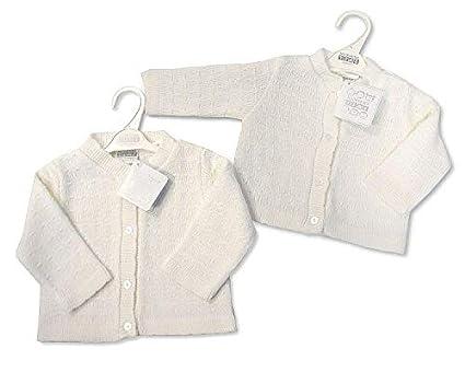 Nursery Time Baby Boys Girls White Grey Knitted V Neck Cardigan Summer 6-12 Months 178