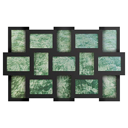 RPJC 4x6 Collage Picture Frame with High Definition Glass Display 15-Opening Family Multi Photos Frames for Wall Hanging Black