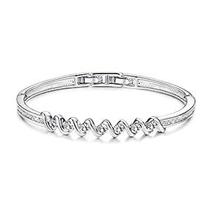 KesaPlan White Gold Plated Crystal Bangle Bracelets for Women, Made with Swarovski Crystal Initial Wave Bangle Bracelets…