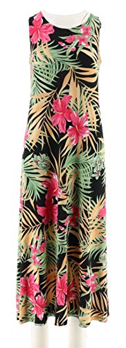 Attitudes Renee Solid Printed Set 2 Dresses Black Tropical L New A291602 from Attitudes by Renee