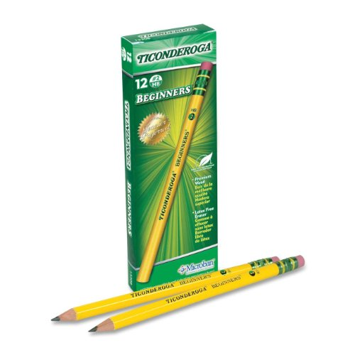 Ticonderoga Wood-Cased Beginner Pencils, 2 HB Soft, With Eraser, Yellow, 12 Count (Kids Fat)