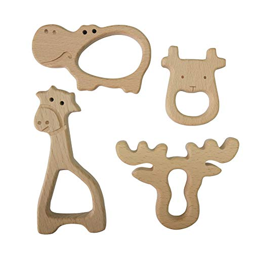 Large Wood Teething Toys for Infant - Natura Wooden Teether Rings by Hombae, Wooden Teether Animals for Toddler, Soothing Pain Relief Toys, Baby Shower Gift (Giraffe, Cow, Hippo, Deer, 4Pack)