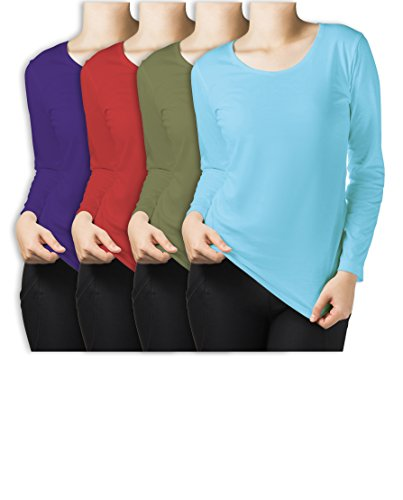 Sexy Basics Women's 4 Pack Athletic Fitted Long Sleeve T Shirt Top Plus Size (2X-Large, 4 Pack - Teal / Turqouise / Olive / Orchid)