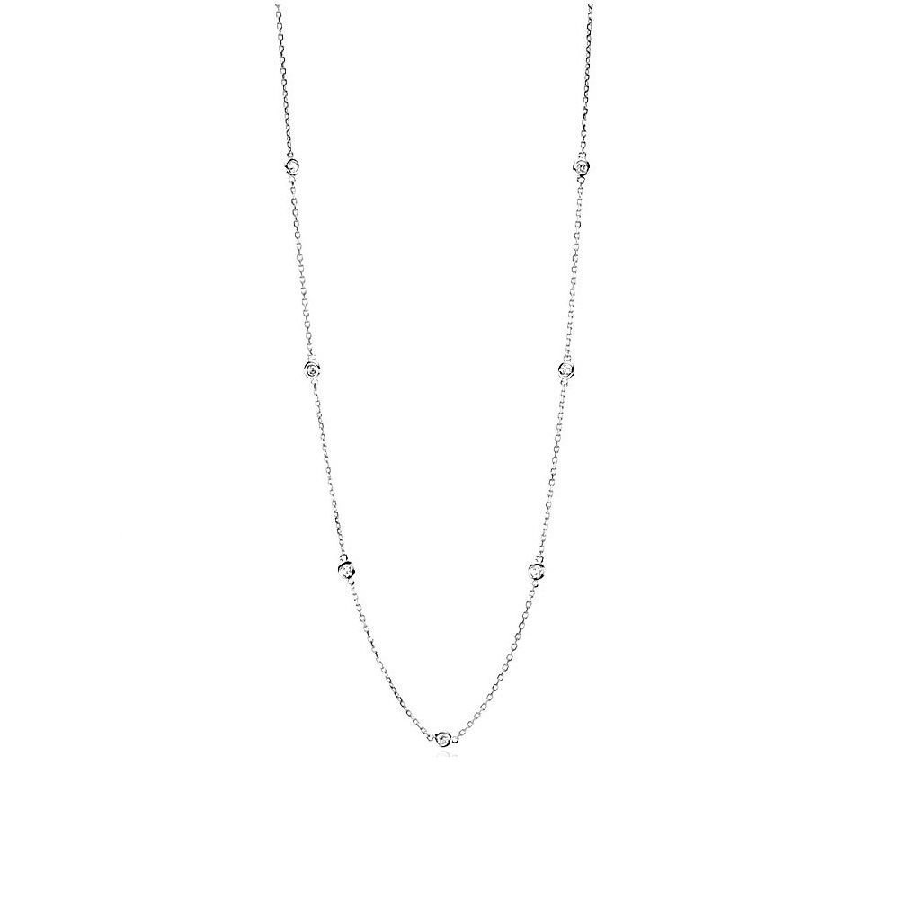 Handmade 14K White Gold Station Necklace With Diamonds 16 - 18 Inches
