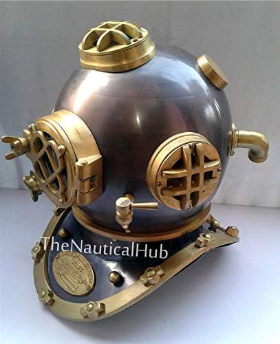 "Antique 18/"" U.S Navy Diving Helmet Mark V Deep Sea Divers Helmet Vintage Replica"