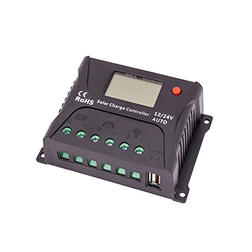 HQST 10 Amp PWM Solar Panel Regulator Charge Controller with LCD Display and USB Port (Lcd Port Usb)
