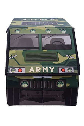 Disney Collapsible Storage Trunk Toy Box Organizer Chest: Clever Creations Kids Camo Army Truck Collapsible Toy