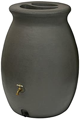 Algreen Castilla Rain Barrel with Brass Spigot, Brownstone, 50-Gallon