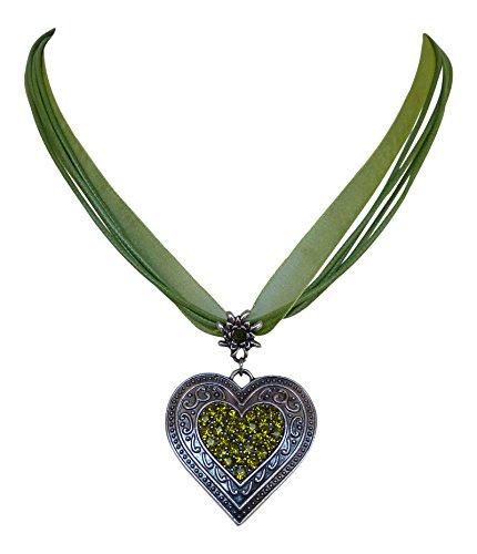 Trachtenschmuck Dirndl Kristall Herz Collier - Edelweiss Aufhängung - Ornamentaler Anhänger (Grün / Olivine)