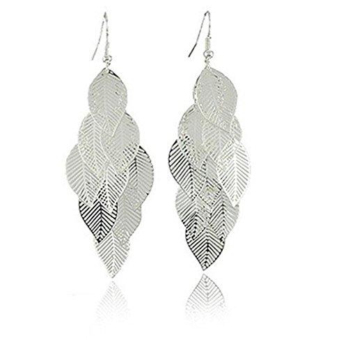 One Pair Unique Bohemia Nine Leaves Long Fashion Dangle Earrings For Girls