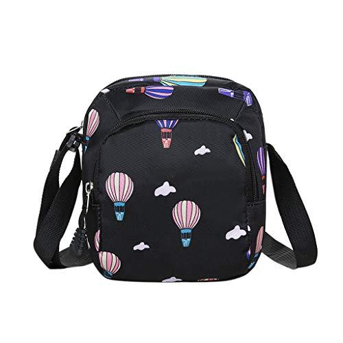 S.H.EEE Cartoon Hot Air Balloon Printed Mobile Phone Bag,Men Women Nylon Waterproof Large Capacity Shoulder Messenger Crossbody Bags