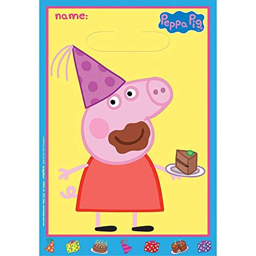 (Nickelodeon Peppa Pig Birthday Girl Party Favor Goody Loot Bags 16 Count Set)