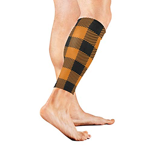 Leg Sleeve Tartan Black Orange Plaid Halloween Pumpkin Compression Socks Support Non Slip Calf Sleeves Pads - Improve Circulation for Shin Splint, Calf Pain Recovery, Running, Cycling, Travel, 1 -