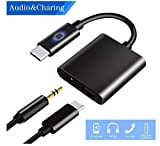 USB Type C to 3.5mm Audio and USB Type C Adapter with 24bit Chipset - Charging Supports PD Fast Charge Headphone Earphone aux
