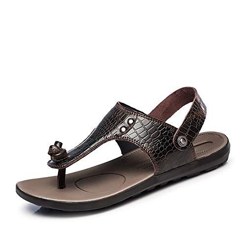 Marron 46 EU 2019 Sandales à la Mode pour Hommes Décontracté Crocodile Texture Elegant Accessoires en métal Pantoufles à Double Usage Sandales (Couleur   Marron, Taille   46 EU)