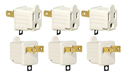 3-Prong to 2-Prong Adapter Grounding Converter 3 Pin to 2 Pin Power AC Ground Lifter For wall Outlets Plugs, Electrical, Household, Workshops, Industrial, Machinery, And Appliances, 6-Piece. (Two Prong)