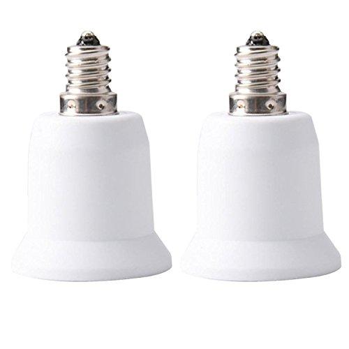 JACKYLED 2-Pack E12 to E26 E27 Adapter Chandelier Light Socket E12 to Medium Socket E26 E27 Converter Bulb Base Adapter Converter