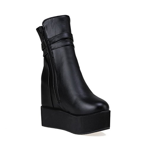 Allhqfashion Women's Soft Material Round Closed Toe High Heels Zipper Solid Boots Black