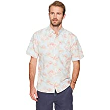 Isle Bay Linens Men's Standard Fit Short Sleeve Toile Vintage Printed Linen Cotton Casual Hawaiian Shirt