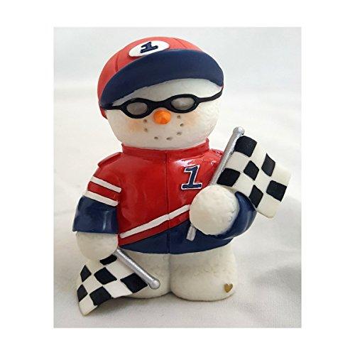 "2002 Sarah's Attic Snowonders ""Pit Stop"" Car Racing Snowman Figurine No. 0471"