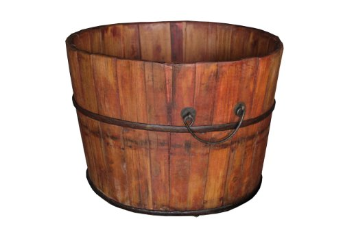 Antique Revival Gota Wooden Bucket, Natural