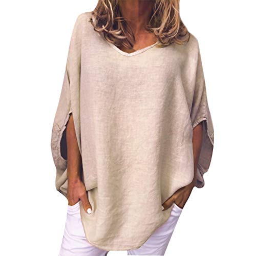 2019 Loose Linen Lantern Sleeve Tops QIQIU Women New Casual Summer Solid Daily Lady Tanic Blouse Tops Shirt ()