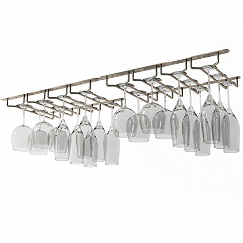 Wallniture Under Cabinet Stemware Glass Hanger Rack Kitchen or Bar Storage Oil Rubbed 10 Inch Deep Set of 2 ()