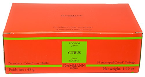 DAMMANN FRERES Rooibos Citrus Tea, 24 Cristal Teabags