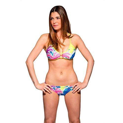 Turbo Sport Bikini Surfing knotties para schwimmerinnen Water Polo Triathlon - En el Respaldo Cruzado para Espaguetis Tirantes, Azul Colorido, M=34 bzw.