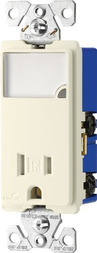 EATON Wiring TR7735LA 3-Wire Receptacle Combo Nightlight with Tamper Resistant 2-Pole, Light Almond