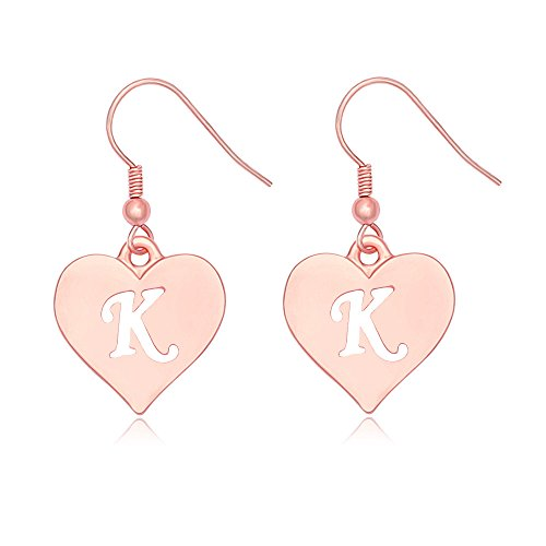 SENFAI Heart Shaped Single Initial Alphabet Letters Personalized Charms Dangle Earrings Rose Gold Plated (K2) (Personalized Heart Charm Ring)
