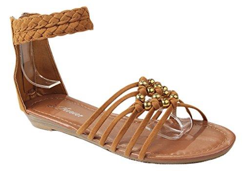 (J.J.F Shoes Women Chieko42 Tan Faux Suede Bead Braid Strappy Low Wedge Ankle Cuff Dress Sandals-9)