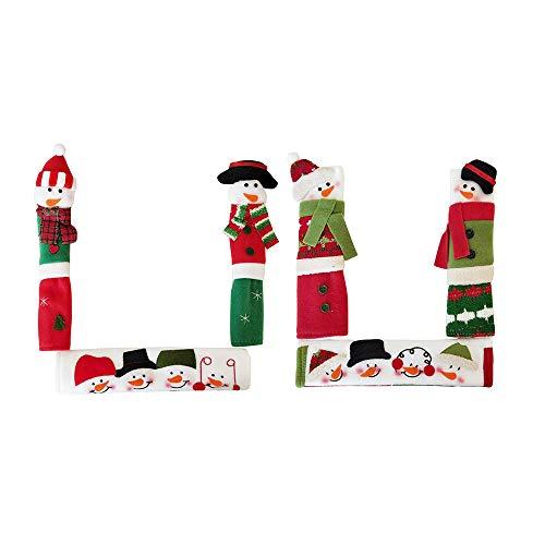 RTWAY Christmas Decorations Set, Snowman Kitchen Appliance Handle Covers Anti Skid Anti-Static Refrigerator Door Handle Holder, Set of 6
