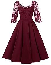 LA ORCHID Laorchid Damen Kleider Vintage Spitzenkleid Abendkleid Cocktailkleid Hochzeit Ferien Kleid Knie Lang
