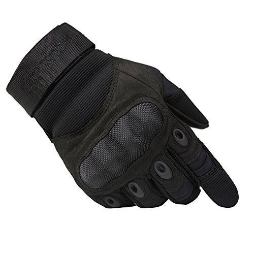 FREE SOLDIER Tactical Gloves Outdoor Military Armor Hard Knuckle Full Finger Gloves for Men Cycling Motorcycle Hiking Airsoft Gloves (Small, Black)