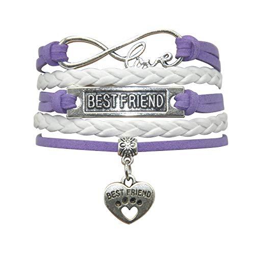HHHbeauty Best Friend Friendship Bracelet (2018 Leather Infinity Love Friendship Gifts Best Friend Bracelets for Women, Men, Girls, Boys, Friends, Teens, Lovers (Purple and White)