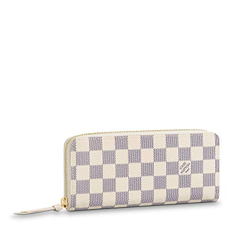 kjelaeg Luxurious Retro Monogram Practical Compact Wallets Damier Azur Lattice Printed Canvas Leather Zipper Coin Purse Pocket with Credit Card Slot for Women 19.5 x 9.0 x 1.5 cm Ballet Pink