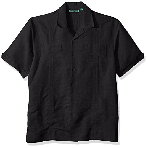 Cubavera Men's Short Sleeve Traditional Guayabera Shirt, Jet Black, ()